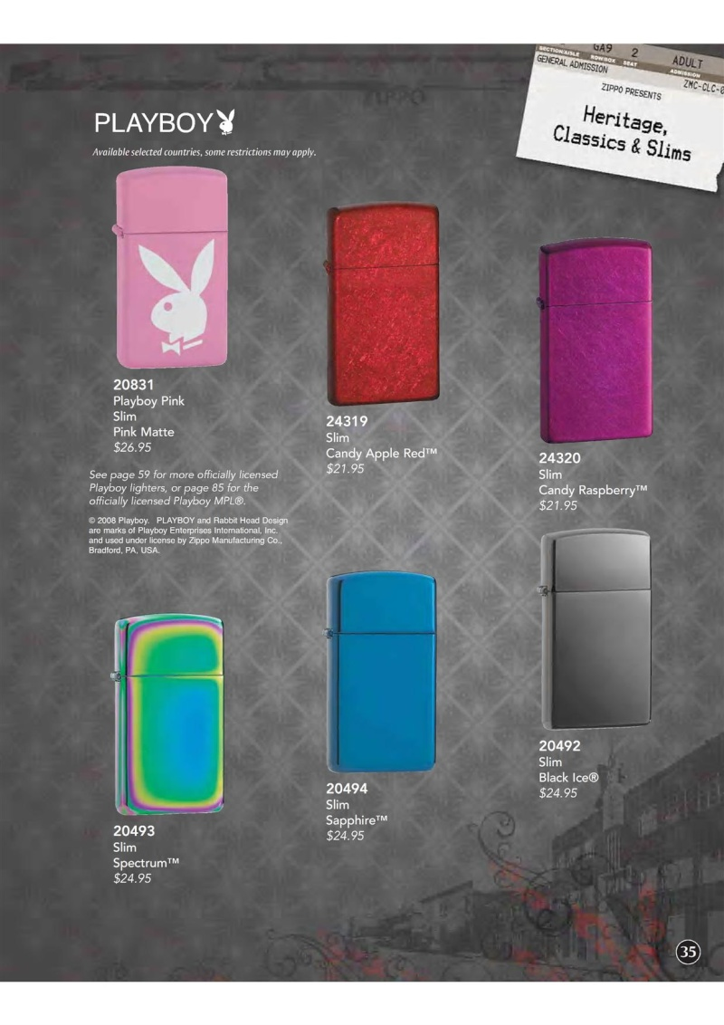 Catalogue ZIPPO 2009 Complete line (version américaine) 3610