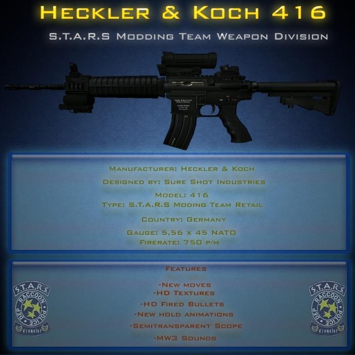 Rifle de asalto H&K 416 + animaciones nuevas + movimientos nuevos para hunk Render10