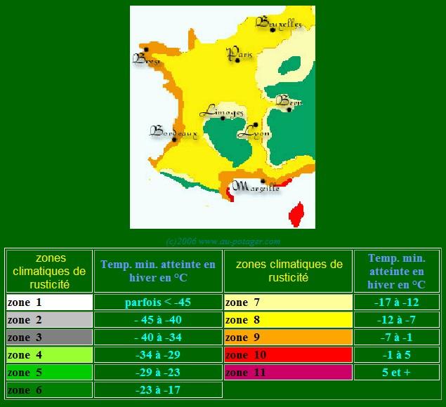 cartes des zones USDA Sans_t33