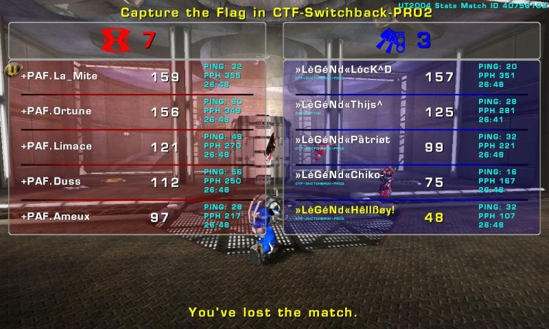 Match »LèGéNd« vs +PAF.  Thursday 09 October 2008 21:00 hours CET (iCTF Laddermatch 5 vs 5) Legend34