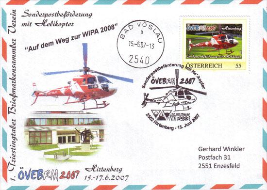 Sonderpostbeförderung mit Helikopter - ÖVEBRIA 2007 Atf62810