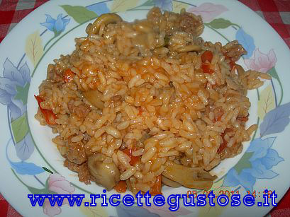 risotto ai funghi e salsiccia  , ricetta fotografata su www.ricettegustose.it Risott10