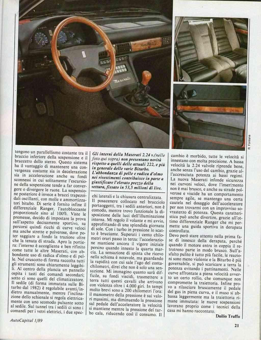 long term test Maserati 2.24v.....autocapital novembre 1989 Immagi29