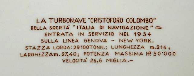 'Cristoforo Colombo' - Italia nav. - 1953 020ner10