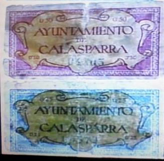 Billetes del Ayuntamiento de Calasparra (Murcia). Guerra Civil 11010