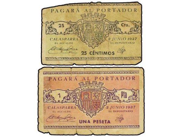 Billetes del Ayuntamiento de Calasparra (Murcia). Guerra Civil 11011