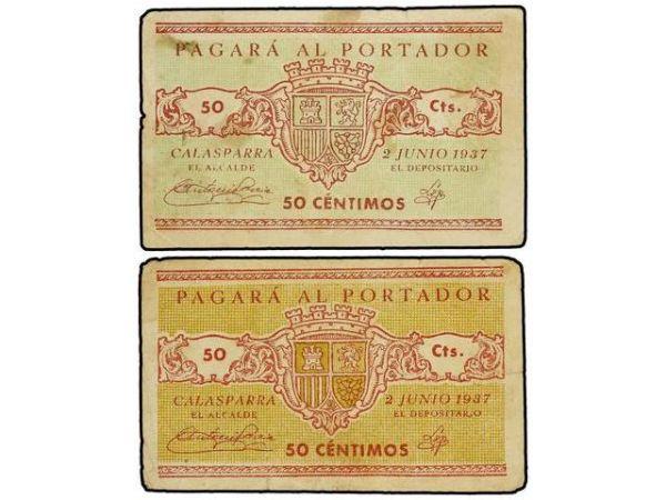 Billetes del Ayuntamiento de Calasparra (Murcia). Guerra Civil 11012
