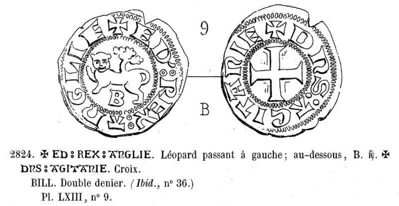 Denier au lion pour Edward III pour le duché d'Aquitaine 2824_t10