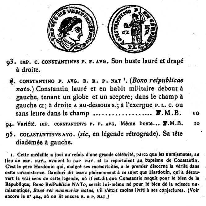 """Follis de billon de Constantin 1er """"CONSTANTINO P AVG P R P NAT"""" Cohen_11"""