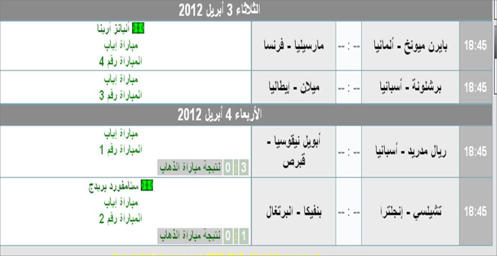جدول مواعيد مباريات الدورى الإسبانى ودورى أبطال أوروبا 2012 Ouuoo210