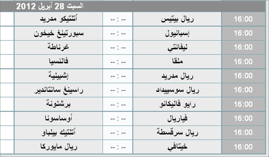 جدول مواعيد مباريات الدورى الإسبانى ودورى أبطال أوروبا 2012 Ouuoo710
