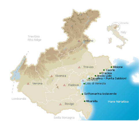 Cartina Spiagge Veneto.Spiagge Veneto