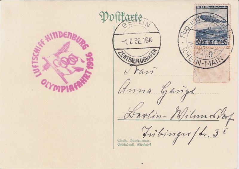 LZ 129 Hindenburg und Olympia 1936 Scann150