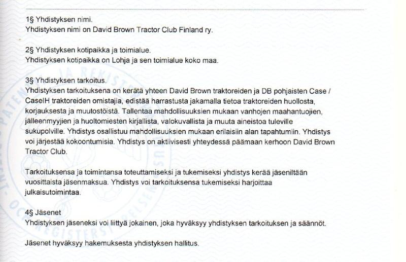 David Brown Tractor Club Finland ry:n säännöt Dbtc0110