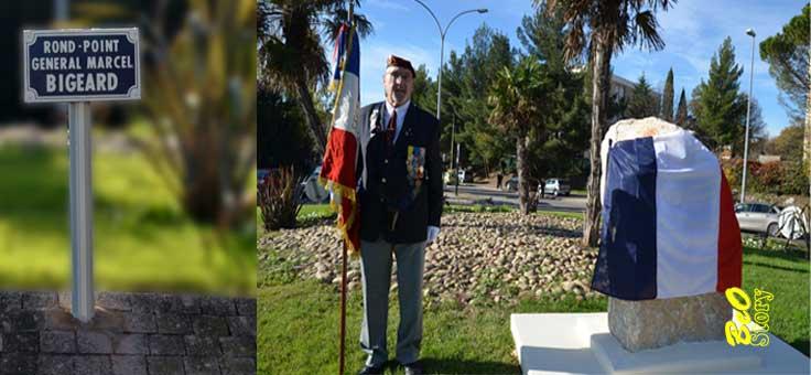 Le général Piquemal dévoile une plaque en hommage au général Bigeard VANDALISEE un mois après Bigear10