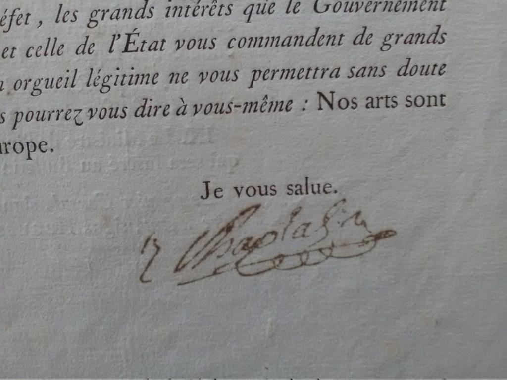 Authentification - signature Jean-Antoine Chaptal - an IX Img_2819