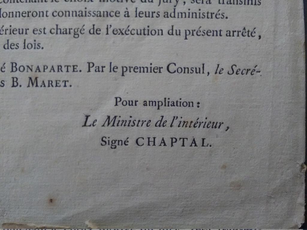 Authentification - signature Jean-Antoine Chaptal - an IX Img_2820