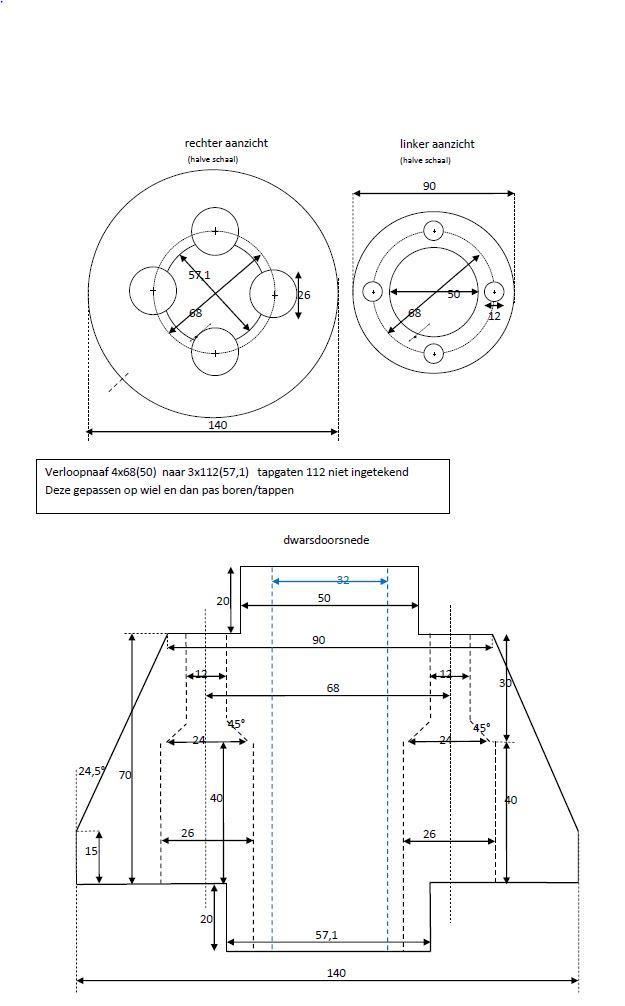 Rear wheel adaptor Naafad12