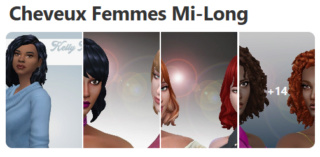 Cheveux Mi-Long pour Femmes (Style Cartoon) 618
