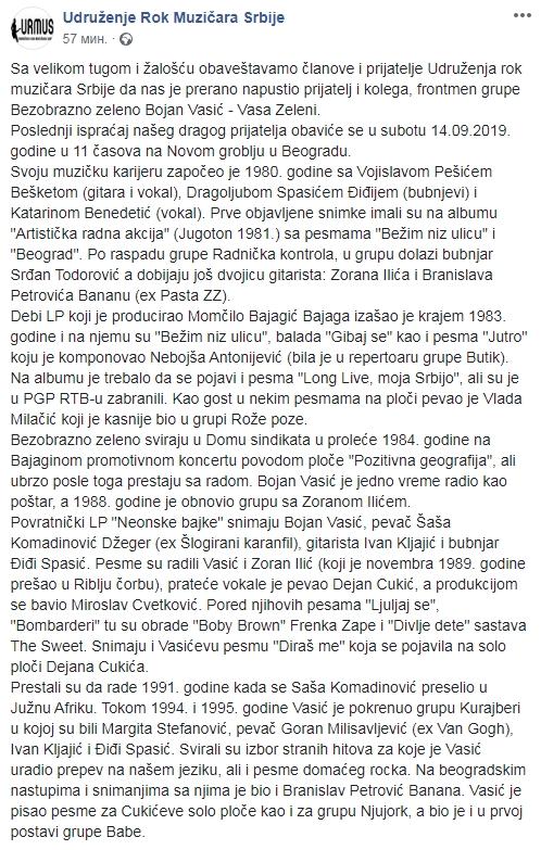 Preminuo Bojan Vasić frontmen grupe Bezobrazno Zeleno Scree139