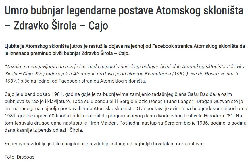 Umro je Zdravko Širola bivši bubnjar Atomskog Skloništa Screen11