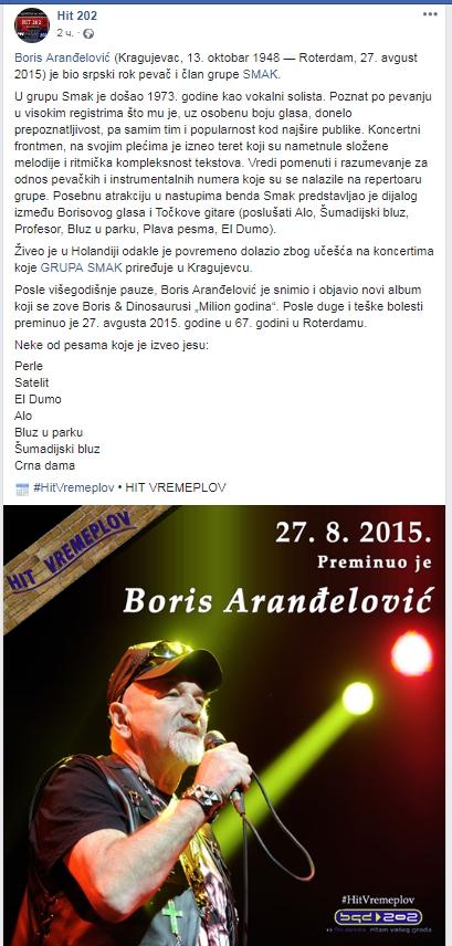 Preminuo Boris Aranđelović pevač grupe Smak Screen23
