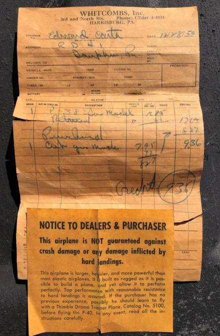 Flea market Cox P-40, F4U + receipts P-40_p10