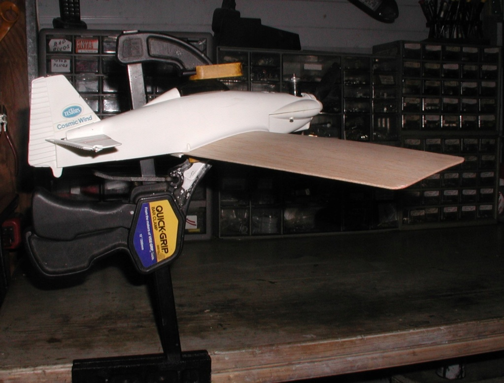 Mixing balsa and plastic.  Testor's P-40 and Cosmic Wind revisited. P8310013