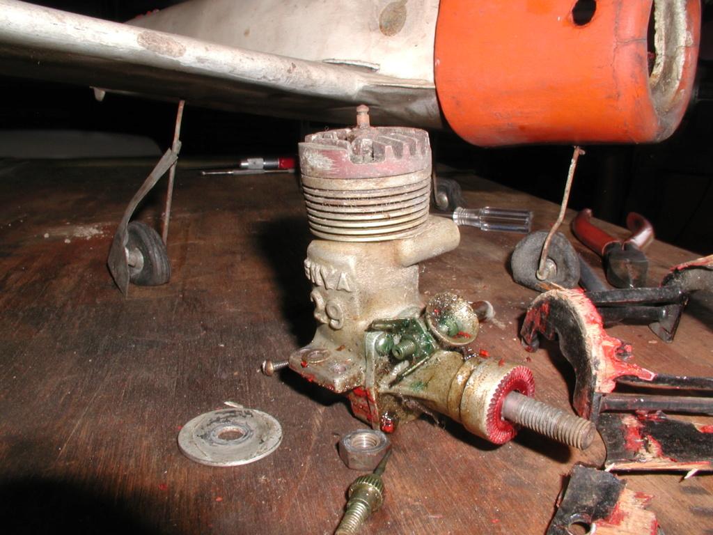 T-28 sand cast Enya engine under construction Spike_16