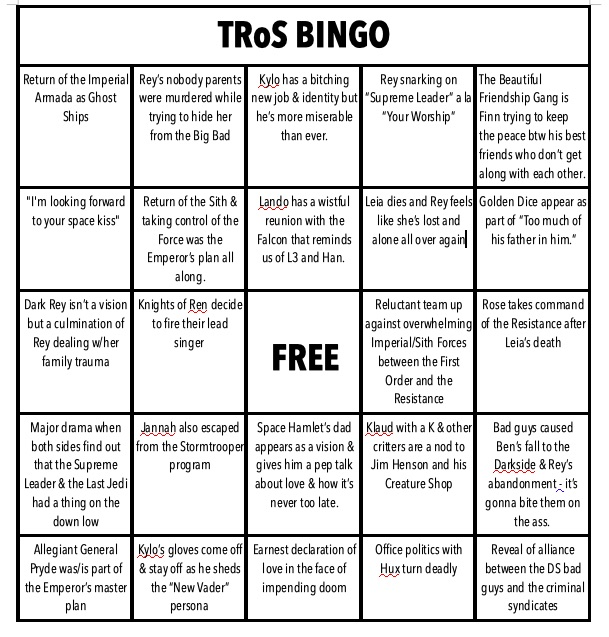 Rise of Skywalker BINGO Cards Bingo10