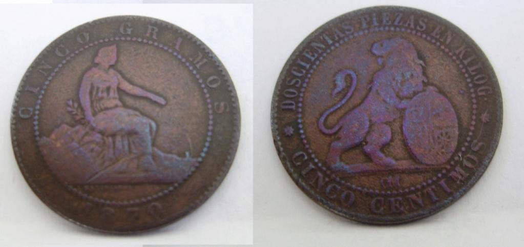 5 céntimos 1870. Gobierno Provisional. La perra chica y el puente del perrochico 412