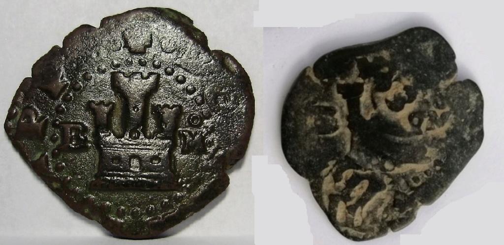 2 maravedís de Felipe II de Burgos, resellados. Felipe28