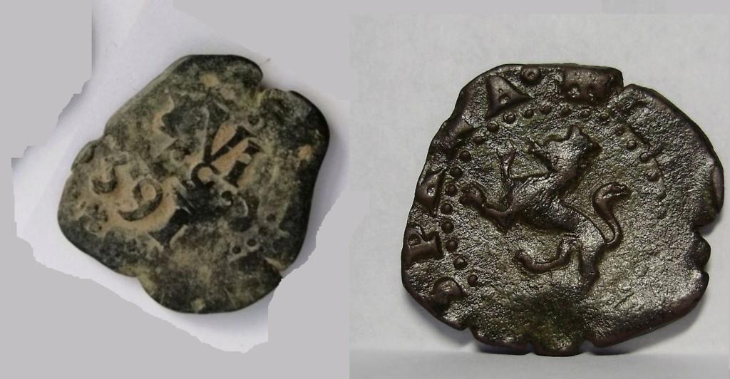 2 maravedís de Felipe II de Burgos, resellados. Felipe29