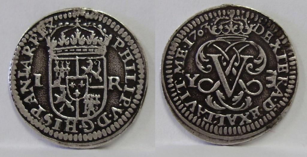 1 real Felipe V 1707 usado como colgante Felipe35