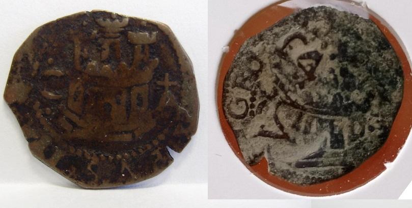 2 maravedís de Felipe II de Cuenca, resellados. Felipe37