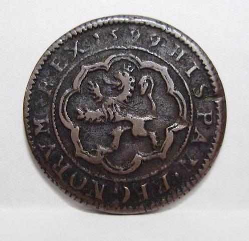 4 maravedís de Felipe II fechados en 1597, repros. Felipr10