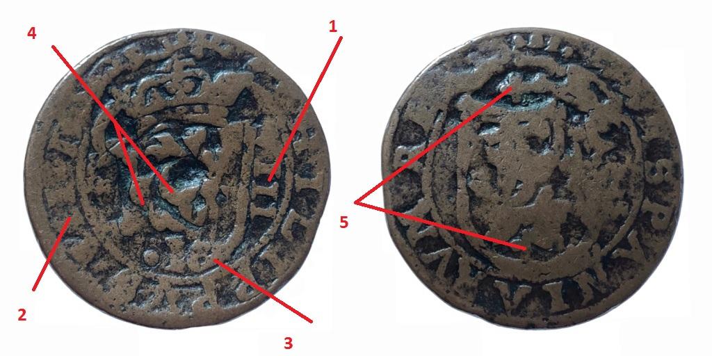 8 maravedís de Felipe III de Segovia, resellados. Sin_tz16