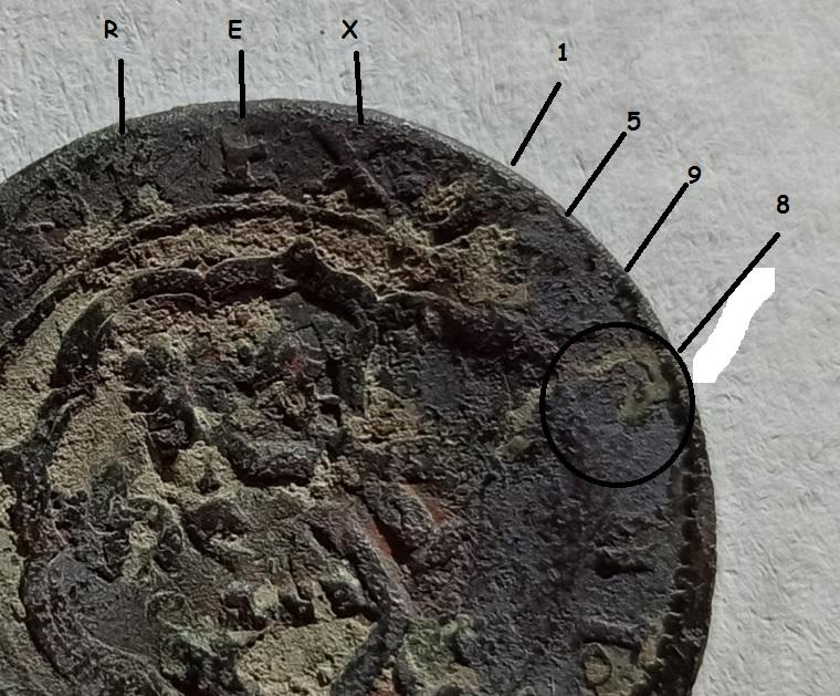 4 Maravedís de Felipe II, tipo OMNIVM 1598, Segovia. Resellados a XII mrvs, de 1636 y 8 de 1651-52. Y ardite de Felipe IV, Barcelona. Sin_tz26