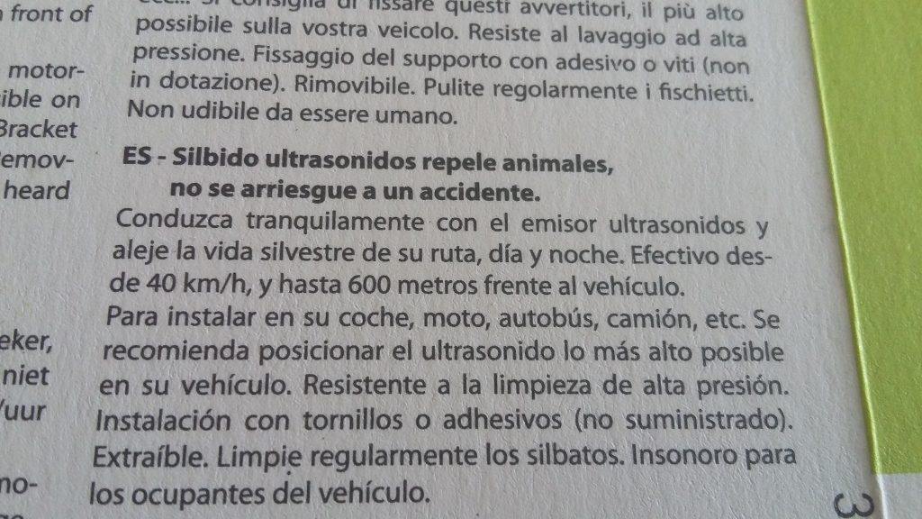 Dispositivo Ultrasonidos Ahuyentador de animales. 20180712