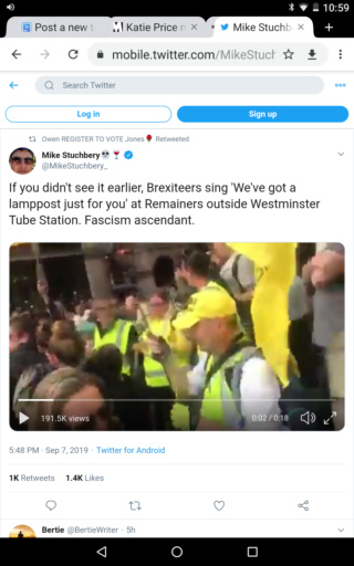 Brexiteers sing 'We've got a lamppost just for you' at Remainers Screen58