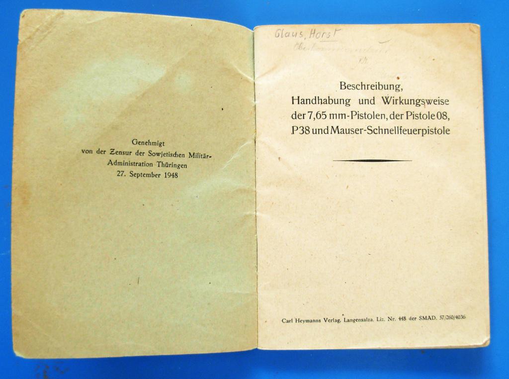 Manuels d'origine P.08 VOPO Livret11