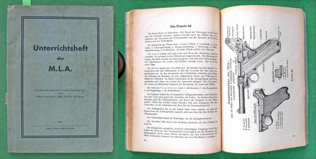 Livrets et manuels du Luger P08 et Parabellum Marine10