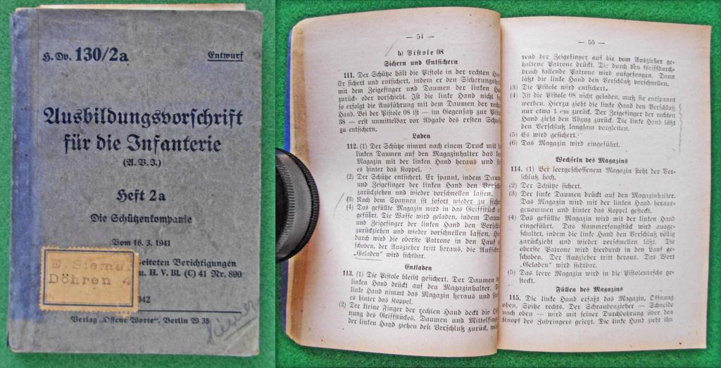 Livrets et manuels du Luger P08 et Parabellum Vorsch10