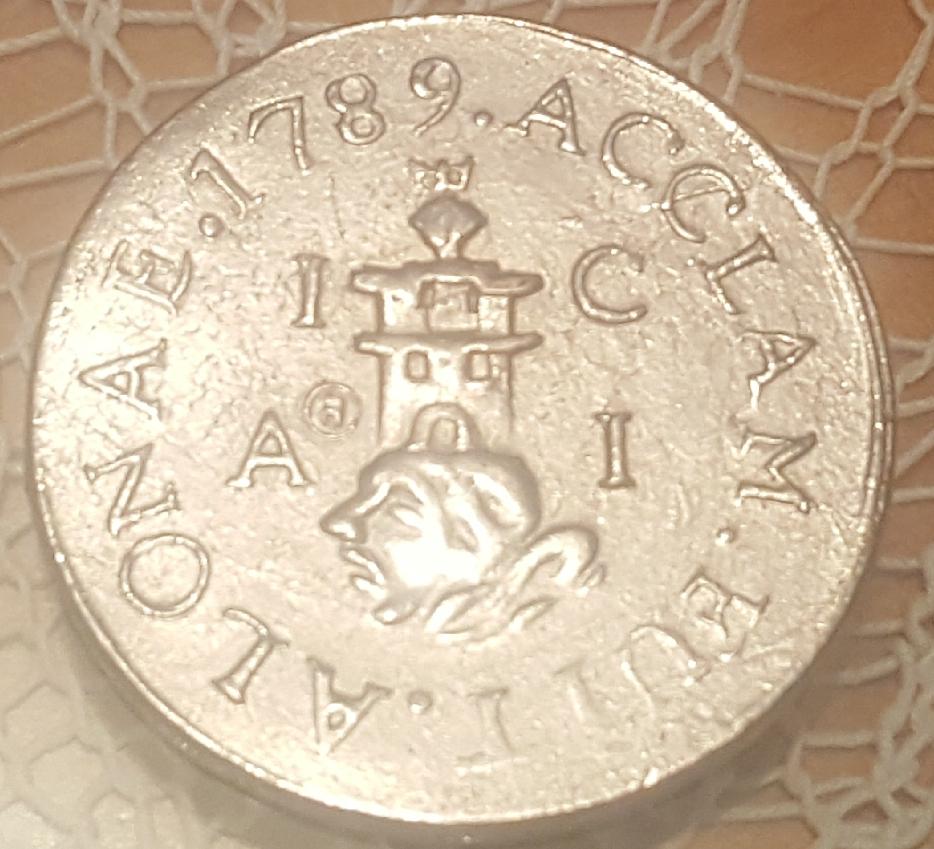 Repro de medalla de proclamación de Carlos IV. 210