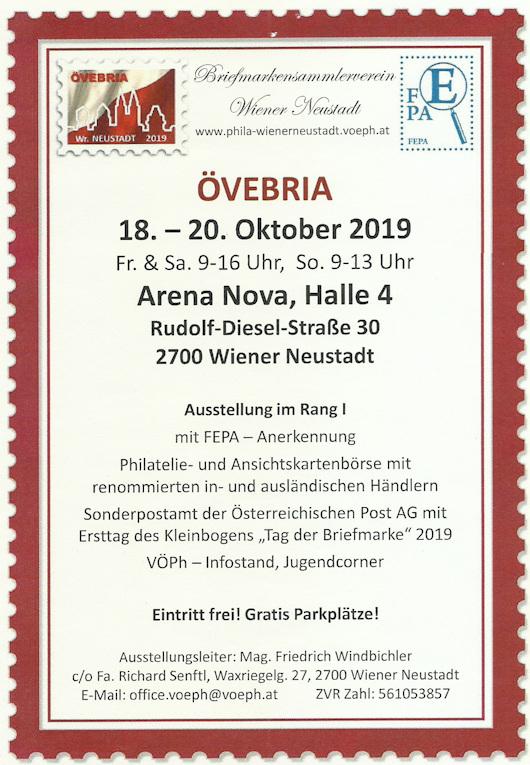 18. - 20.10. ÖVEBRIA - Rang I Ausstellung und Sammlerbörse 20191010