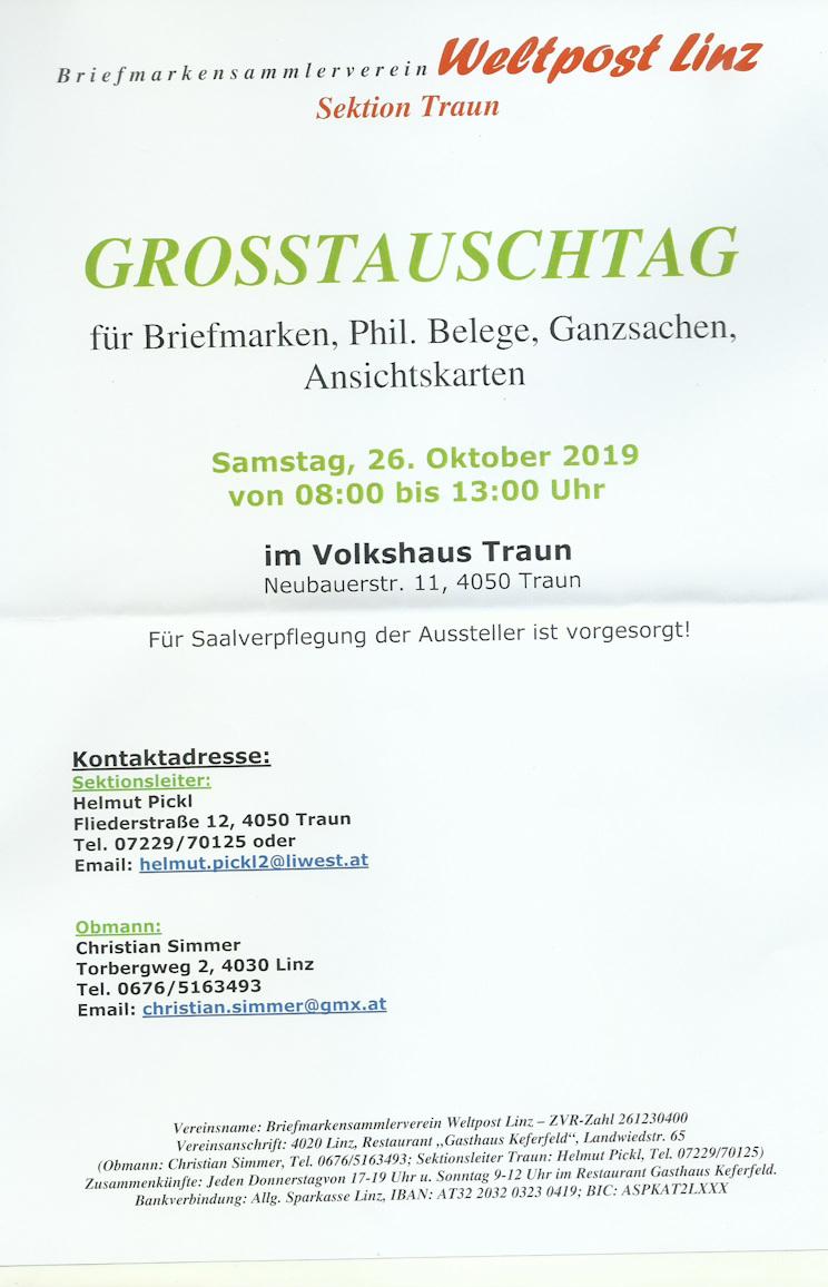 26.10., Großtauschtag im Volkshaus Traun 26101910