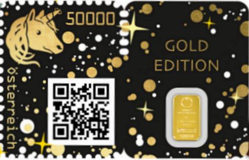 Crypto Stamp - Goldene Unicorn Briefmarke Crypto26