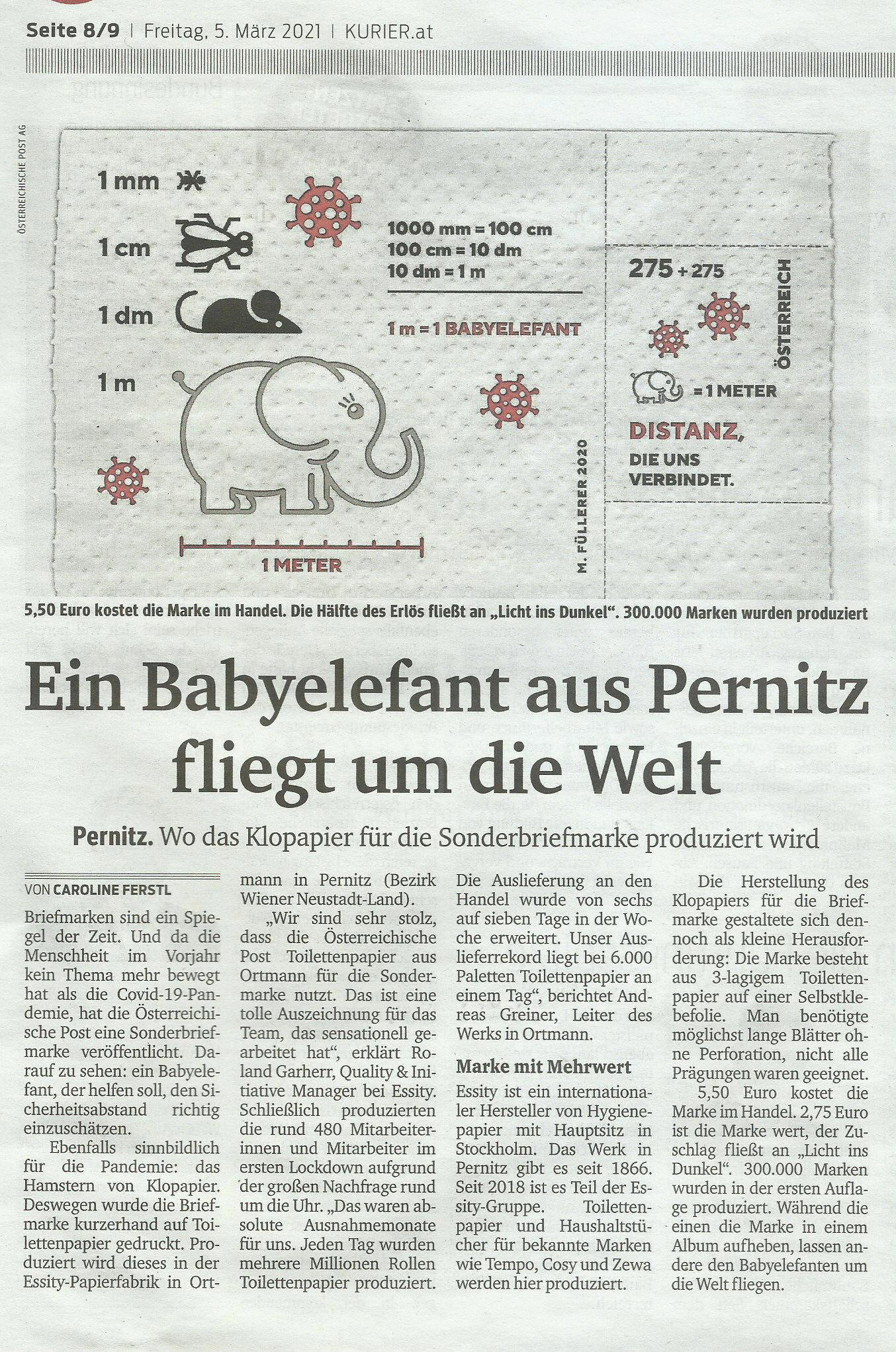 Babyelefant mit Klopapier aus Pernitz Kurier10