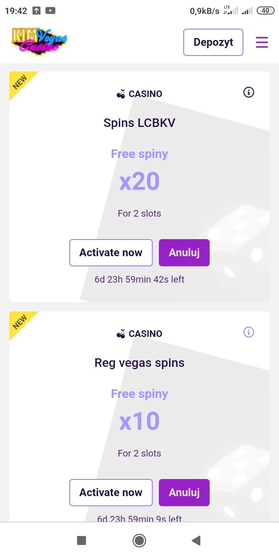 KimVegas kasyno online 20 darmowych spinów bez depozytu Screen12