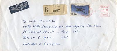 lettre recommandée par avion à destination des États-Unis est affranchie d'un timbre Noratlas de poste aérienne  2012_026